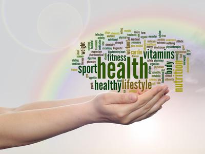 Conceptual health word cloud rainbow