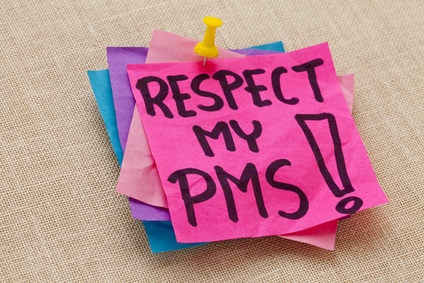 respect my PMS (premenstrual syndrome) - humorous warning - handwriting on a purple sticky note against canvas board